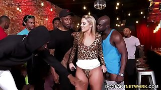 Big black cock D/s Candice Dare Survives Interracial Gang-fuck In A Bar