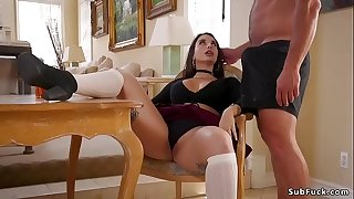 Dude whips two big butts step sisters