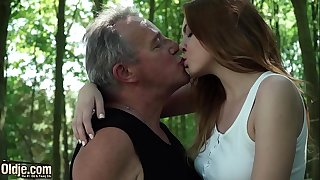 Sexy young redhead seducing grandpa and has epic sex with him