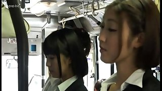 Asian lesbians in bus